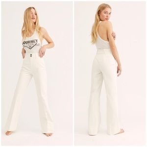 Free People Hattie Flare Pant Trousers White New